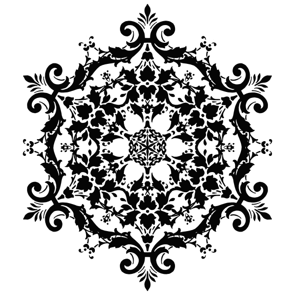 Round flowery vector silhouette