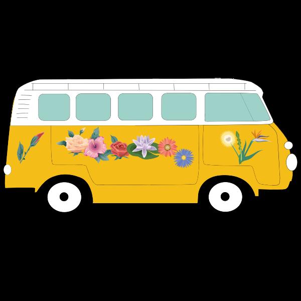 Floral Volkswagen camper | Free SVG