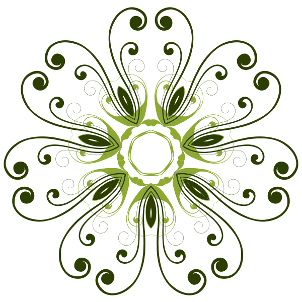 Drawing of swirling petals floral design in color