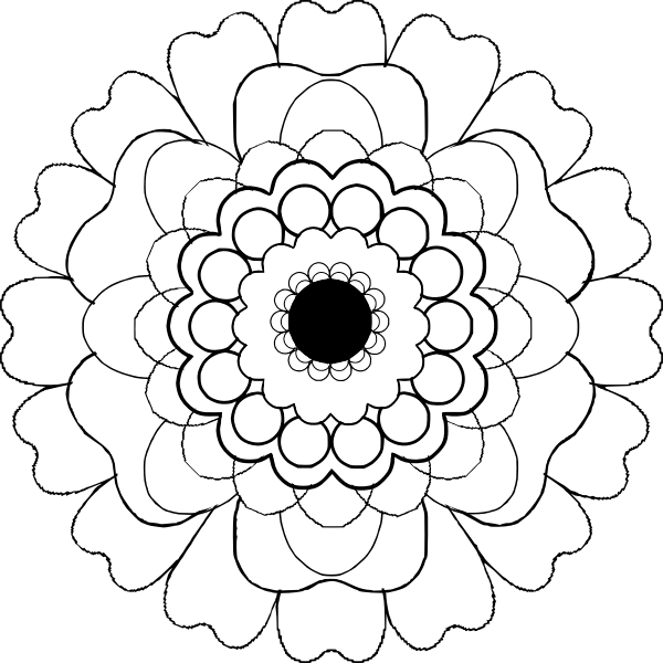 Blooming black and white flower vector clip art