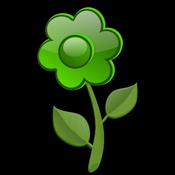 Gloss bright green flower on stem vector drawing