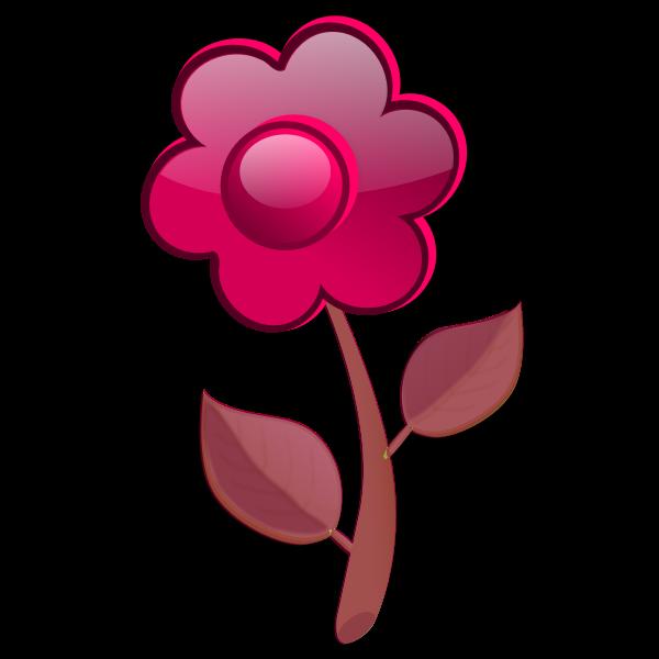 Gloss red flower on stem vector illustration
