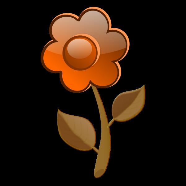 Gloss orange flower on stem vector image