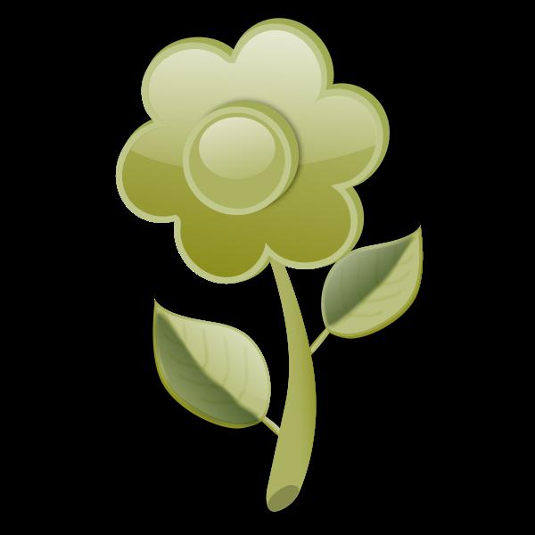 Gloss green flower on stem vector clip art