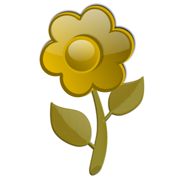 Gloss yellow flower on stem vector graphics