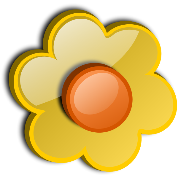 Gloss bright yellow flower vector drawing