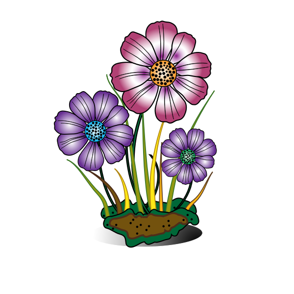 Flowers in sponge vector image