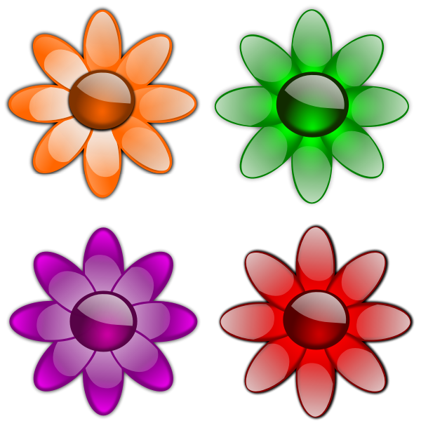 Four geometrical flowers vector graphics
