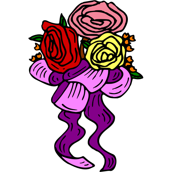 Flowers with ribbon
