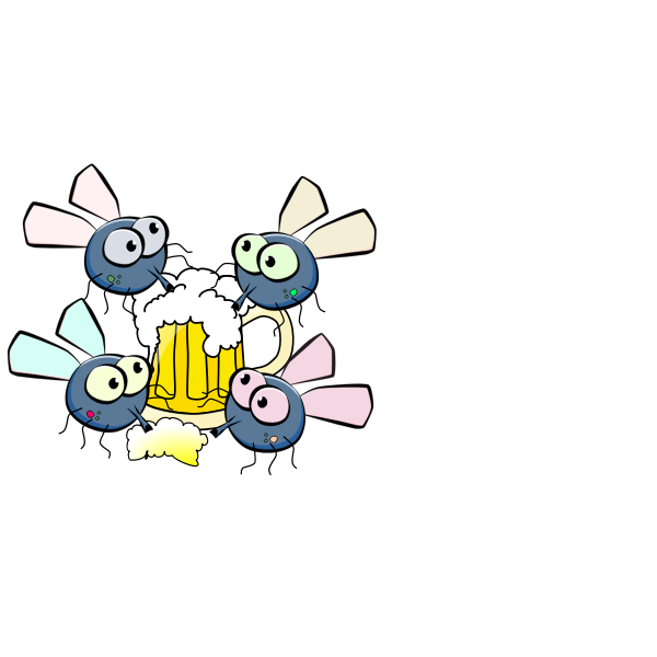 Flies drinking beer vector illustration