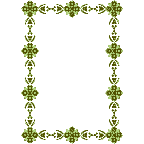 Frame Floral Pattern Green Color