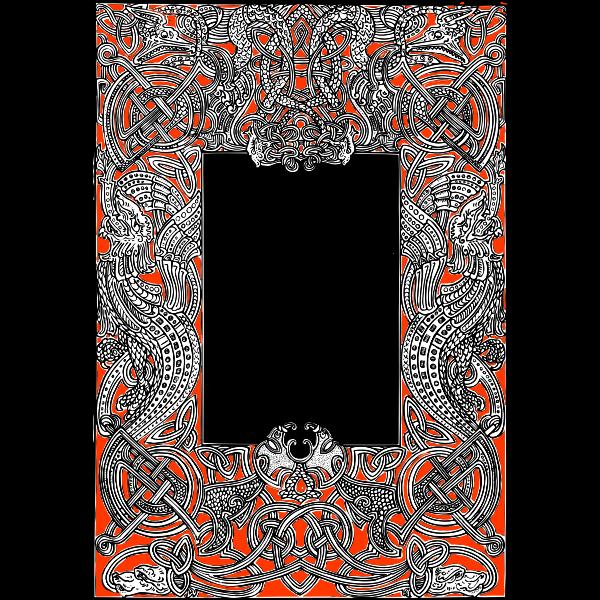 Frame rectangular red and black
