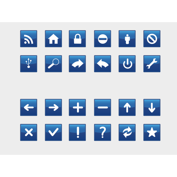 Vector illustration of selection of blue computer icons,