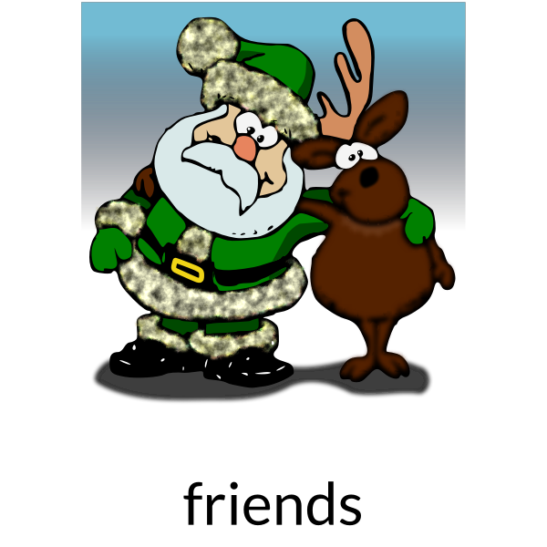 Vector graphics of Santa Claus and raindeer as friends
