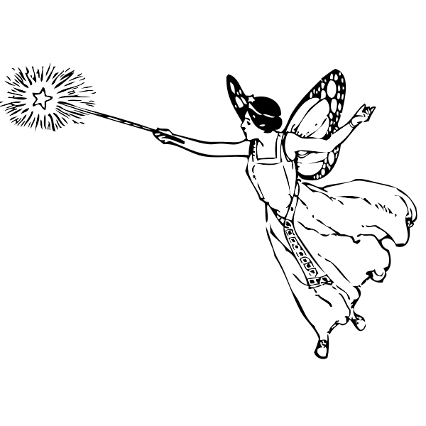 Vector grahics of winged fairy with a wand