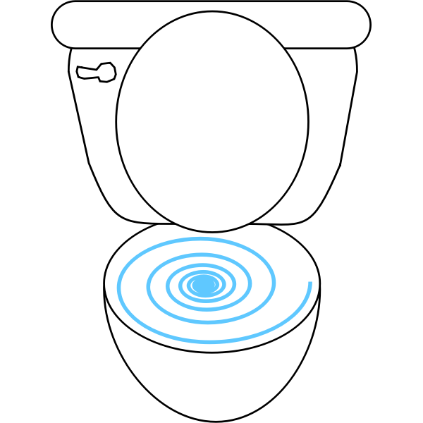 Swirly toilet vector clip art