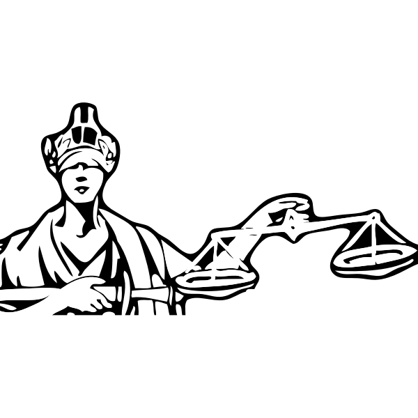 Blind Lady Justice vector drawing
