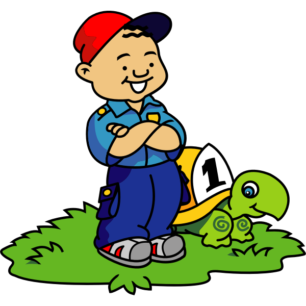 Vector clip art of boy and turtle about to race