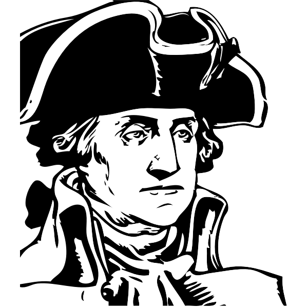 George Washington black and white profile vector illustration