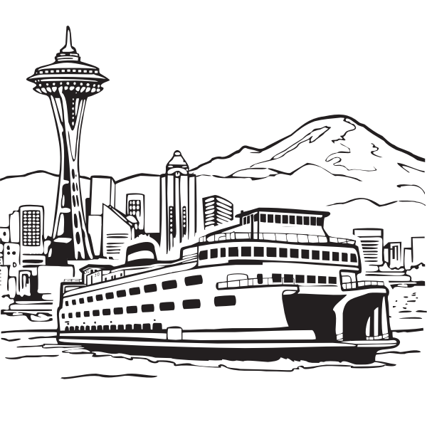 Ferry in port vector image