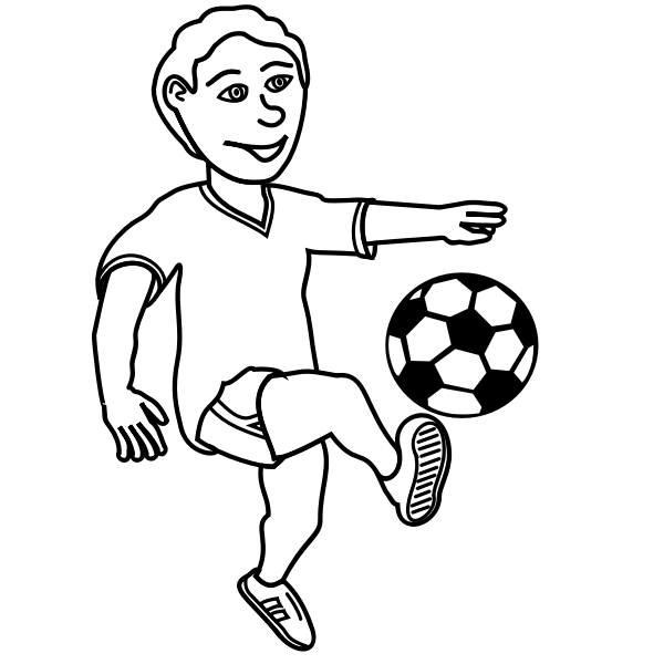 Drawing of soccer playing boy in black and white