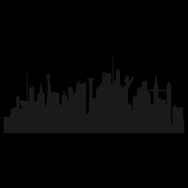 Futuristic city silhouette