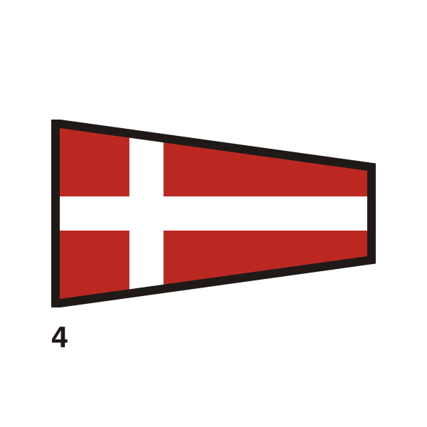 Red and white outlined flag