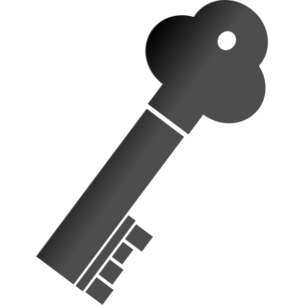 Vector illustration of thick metal door key