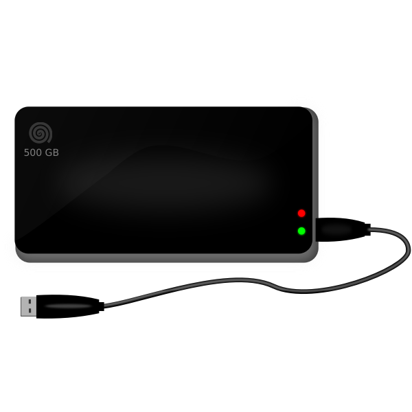 500 GB external drive vector image