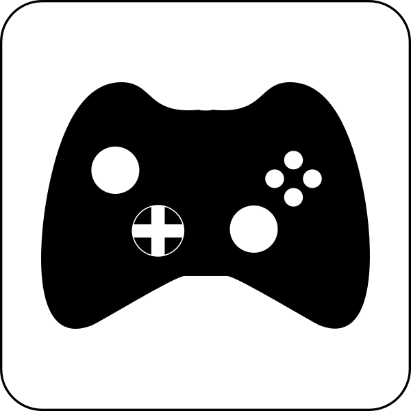 Vector drawing of black and white gaming pad icon