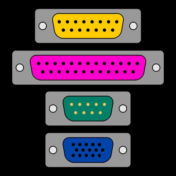 Game port VGA plugs vector image