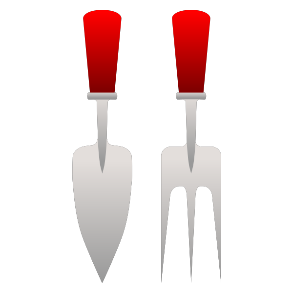 Gardening fork and trowel