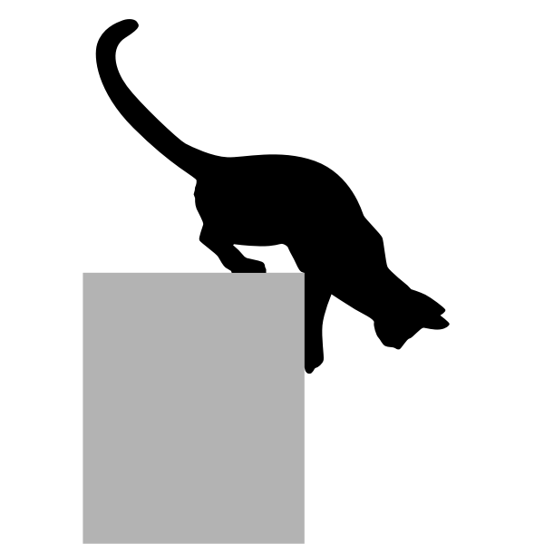 Vector image of silhouette of cat coming down