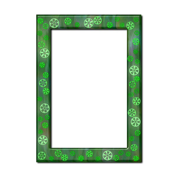Green frame with cogs
