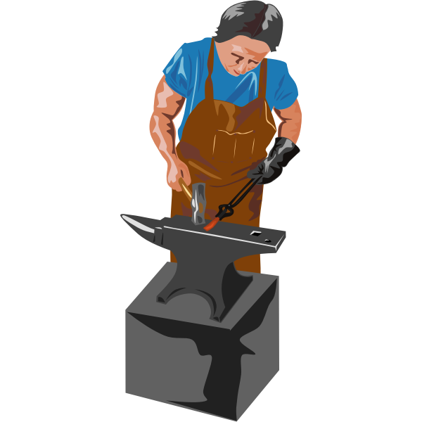 Vector image of blacksmith working with a hammer and anvil