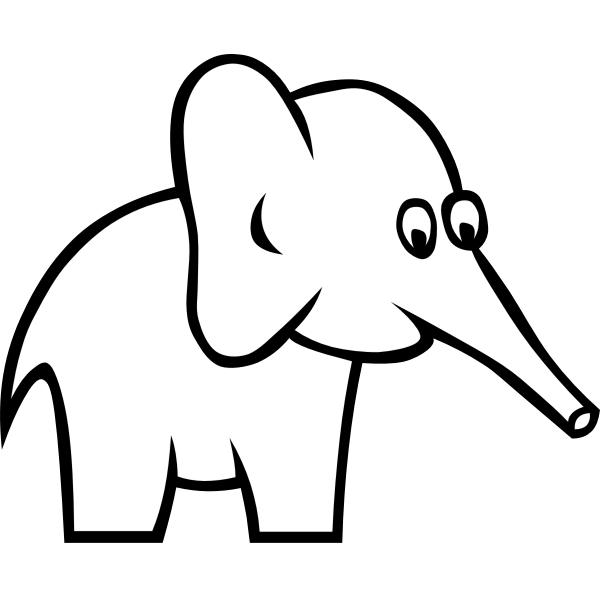 Vector illustration of big eared elephant