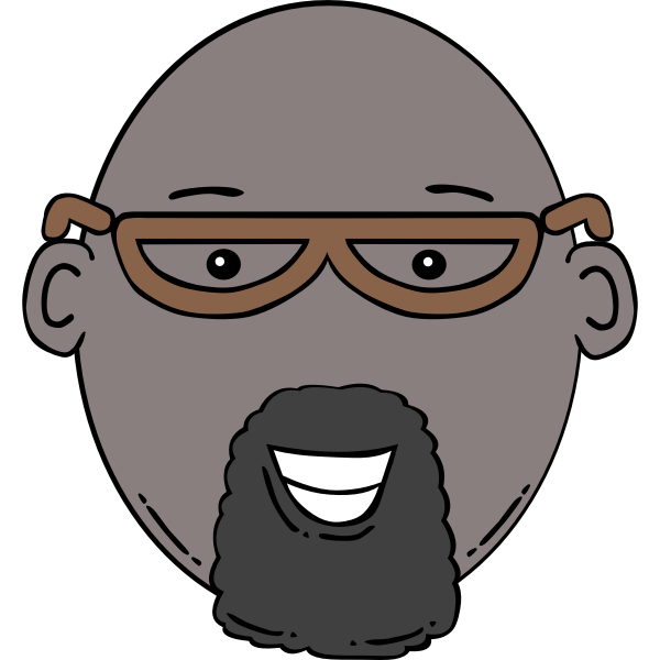 Vector image of cartoon man face with beard