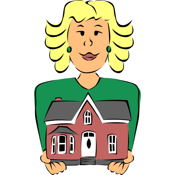 Real Estate Agent Holding House