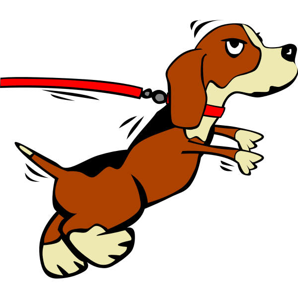 Dog on leash vector drawing