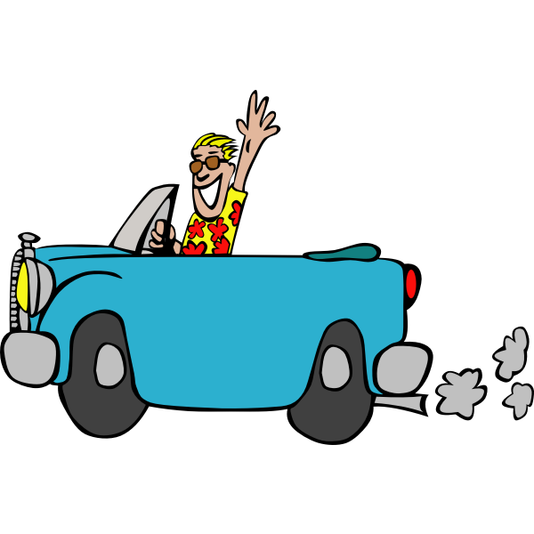 Driving a car illustration