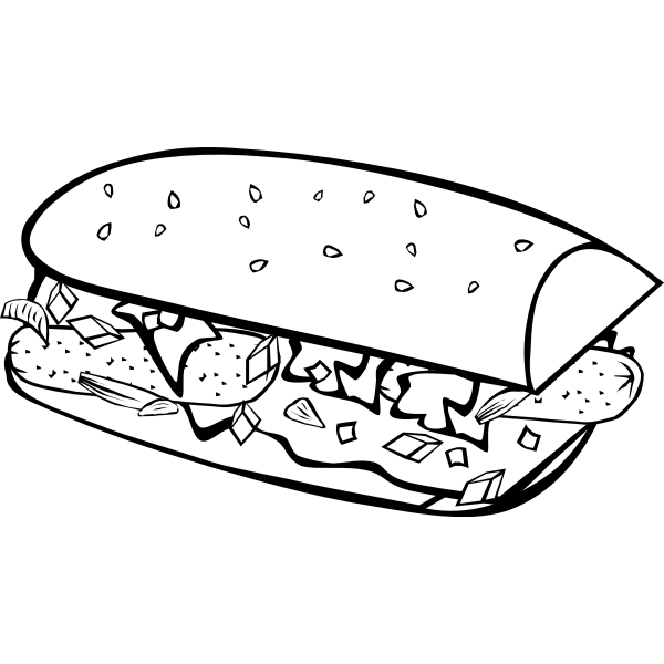 Submarine sandwich vector drawing