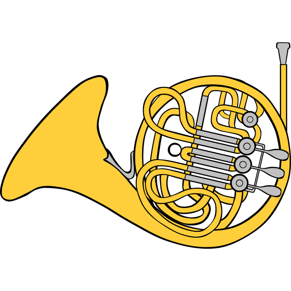French horn vector clip art