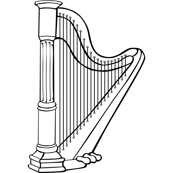Vector graphics of harp instrument