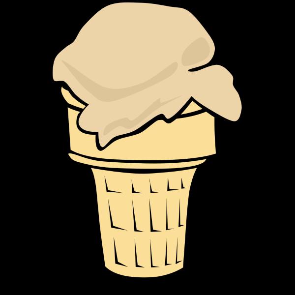 Color vector illustration of ice cream in a half-cone