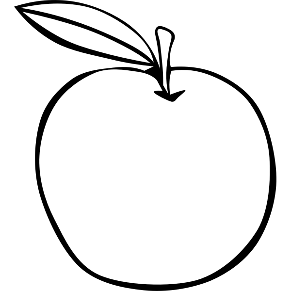 Apple vector image with a leaf