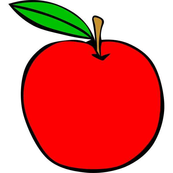 Red apple with a green leaf