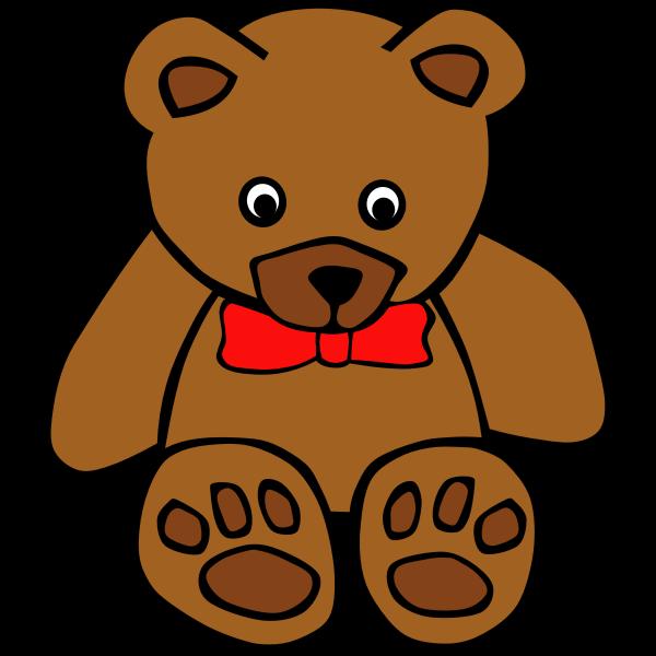 Simple teddy bear with bow tie vector illustration