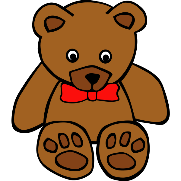 Simple teddy bear with bow tie vector illustration