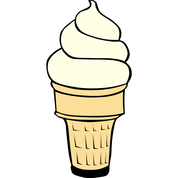 Vanilla ice cream in cone vector image