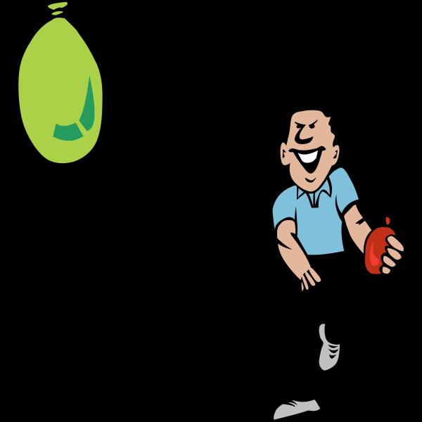 Vector clip art of water balloon fight